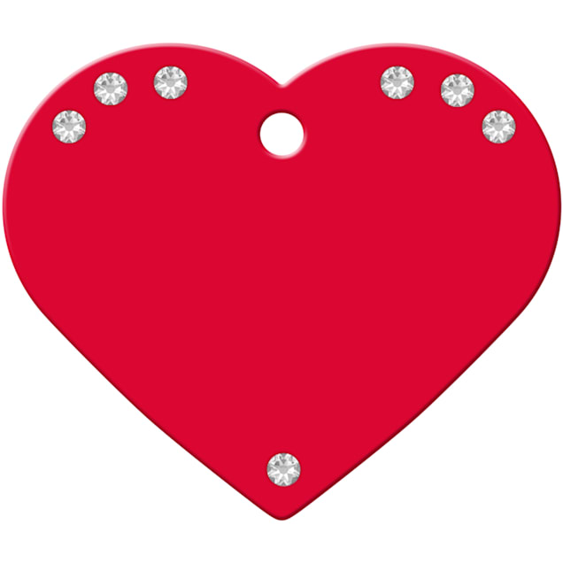 Quick-Tag Large Clear Crystal Red Heart Personalized Engraved Pet ID Tag - Carousel image #1