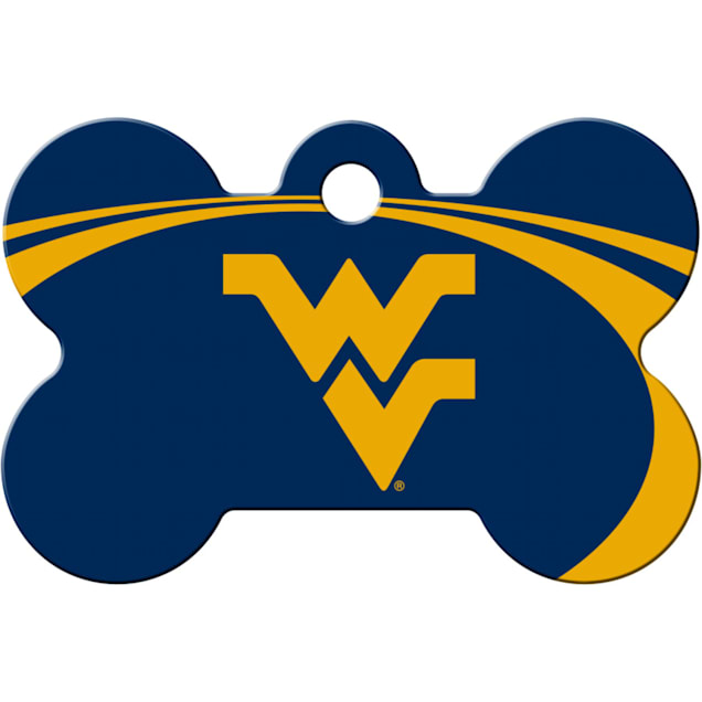 Quick-Tag West Virginia Mountaineers NCAA Bone Personalized Engraved Pet ID Tag - Carousel image #1