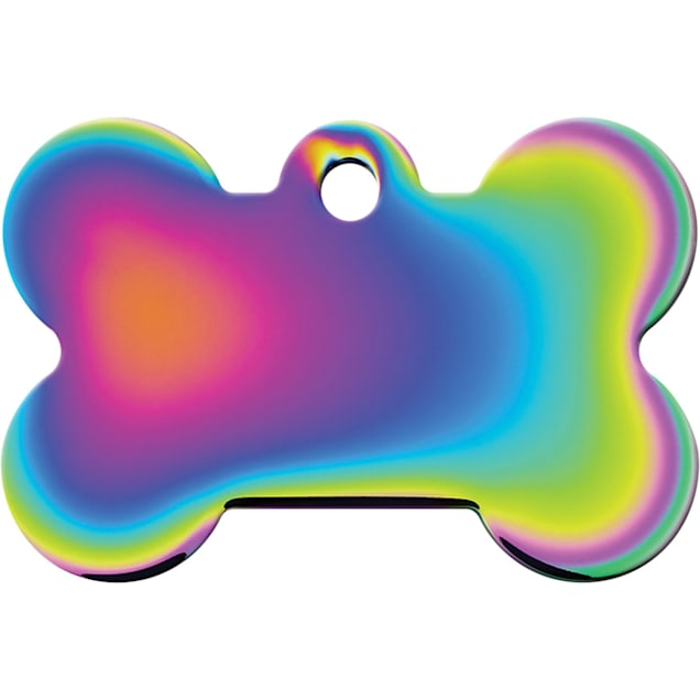Quick-Tag Large Rainbow Bone Personalized Engraved Pet ID Tag - Carousel image #1