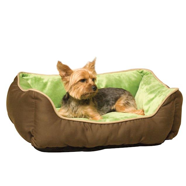 "K&H Mocha & Green Self-Warm Lounge Sleeper Self Warming Pet Bed, 20"" L x 16"" W - Carousel image #1"