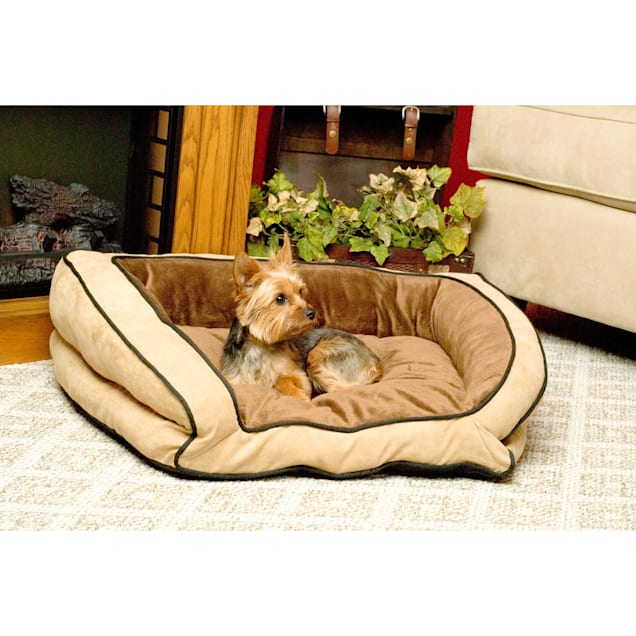 """K&H Bolster Couch Dog Bed in Mocha & Tan, 28"""" L x 40"""" W - Carousel image #1"""