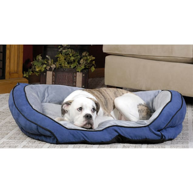 """K&H Bolster Couch Dog Bed in Blue & Gray, 28"""" L x 40"""" W - Carousel image #1"""