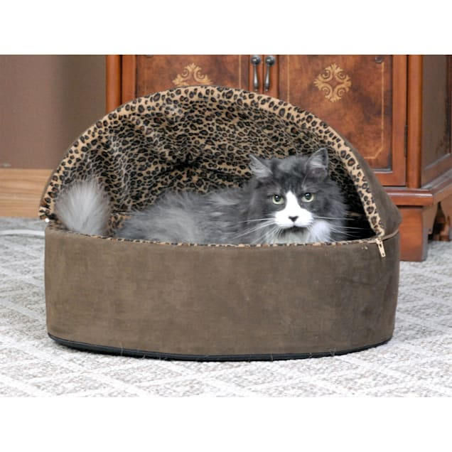 "K&H Mocha Leopard Thermo-Kitty Bed Deluxe Heated Cat Bed, 20"" L x 20"" W - Carousel image #1"