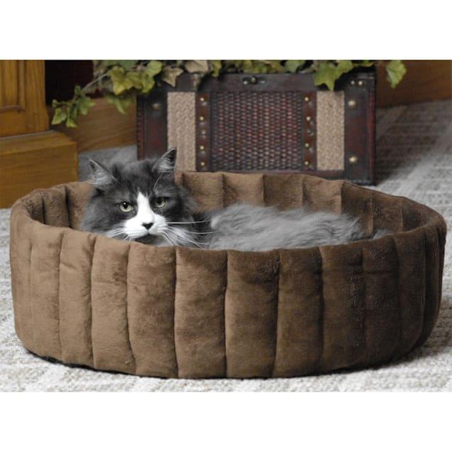 "K&H Kitty Cup Tan & Mocha Cat Bed, 20"" L x 20"" W - Carousel image #1"