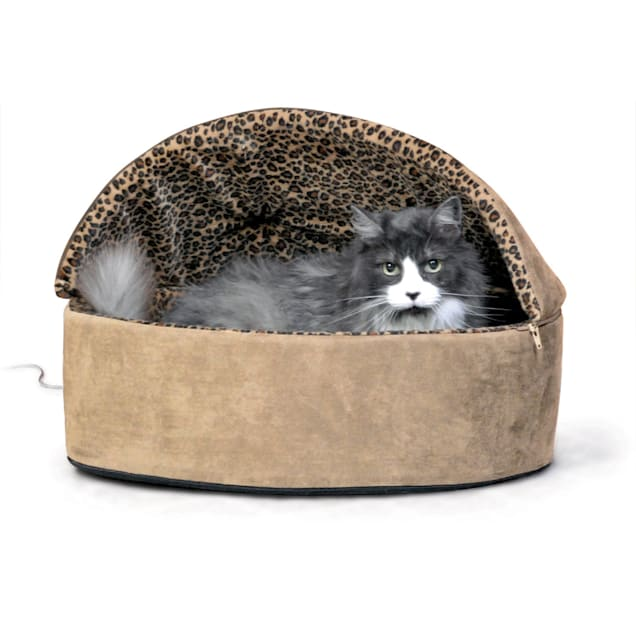"""K&H Tan Leopard Thermo-Kitty Bed Deluxe Heated Cat Bed, 20"""" L x 20"""" W - Carousel image #1"""