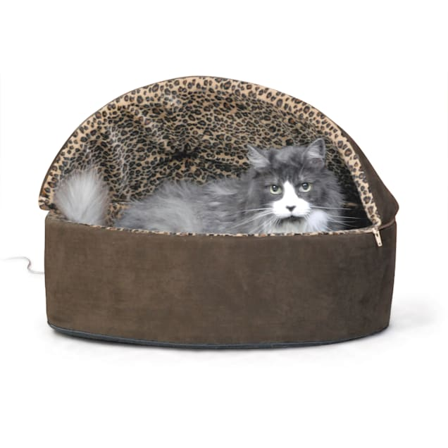 """K&H Mocha Leopard Thermo-Kitty Bed Deluxe Heated Cat Bed, 20"""" L x 20"""" W - Carousel image #1"""