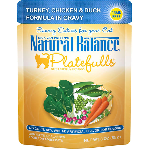 Natural Balance Platefulls Turkey, Chicken & Duck Formula in Gravy Adult Wet Cat Food, 3 oz., Case of 24 - Carousel image #1