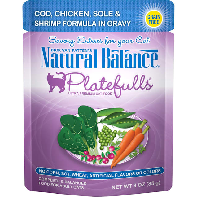 Natural Balance Platefulls Cod, Chicken, Sole & Shrimp Formula in Gravy Adult Wet Cat Food, 3 oz., Case of 24 - Carousel image #1