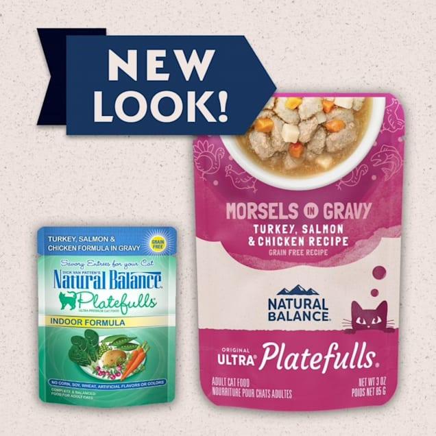 Natural Balance Platefulls Turkey & Salmon in Gravy Indoor Formula Adult Wet Cat Food, 3 oz., Case of 24 - Carousel image #1