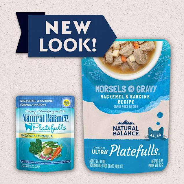 Natural Balance Platefulls Mackerel & Sardine in Gravy Indoor Formula Adult Wet Cat Food, 3 oz., Case of 24 - Carousel image #1