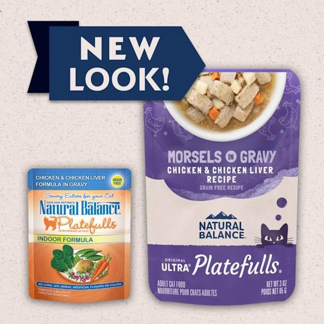 Natural Balance Platefulls Chicken & Chicken Liver in Gravy Indoor Formula Adult Wet Cat Food, 3 oz., Case of 24 - Carousel image #1