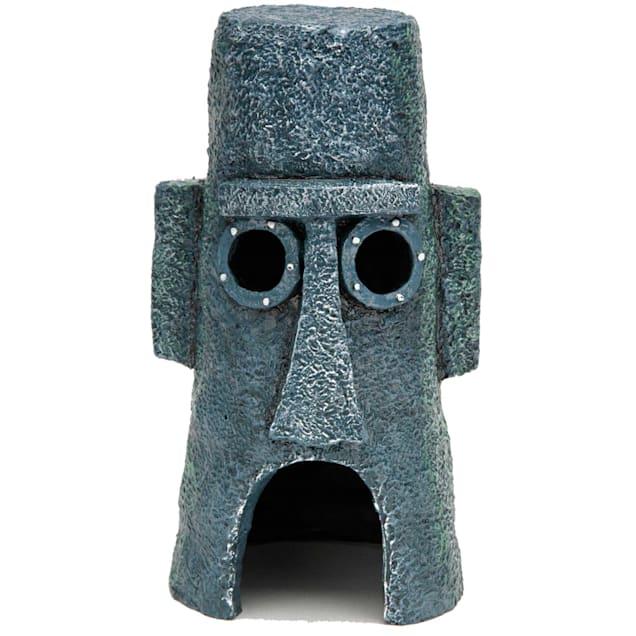 "Penn Plax SpongeBob Squidward Easter Island Home Aquarium Ornament, 3"" L X 3"" W X 6"" H - Carousel image #1"