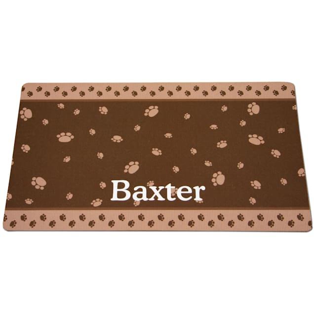 "Drymate Brown & Tan Paw Border Personalized Pet Placemat, 12"" L x 20"" W - Carousel image #1"