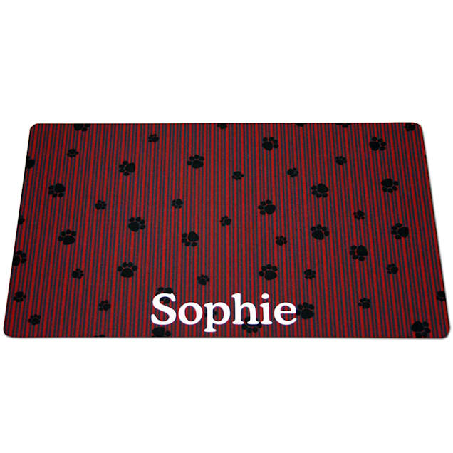 Drymate Red & Gray Stripes Personalized Pet Placemat - Carousel image #1