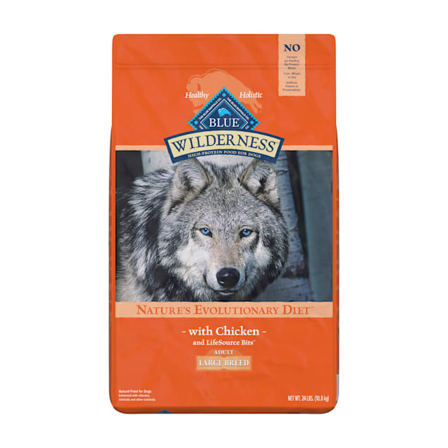 Blue Buffalo Wilderness Natural Adult High Protein Grain Free Large Breed Dry Chicken Dog Food, 24 lbs. - Carousel image #1