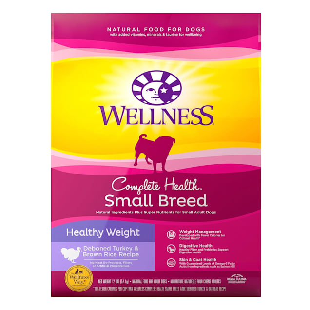Wellness Complete Health Natural Small Breed Healthy Weight Recipe Dry Dog Food, 12 lbs. - Carousel image #1