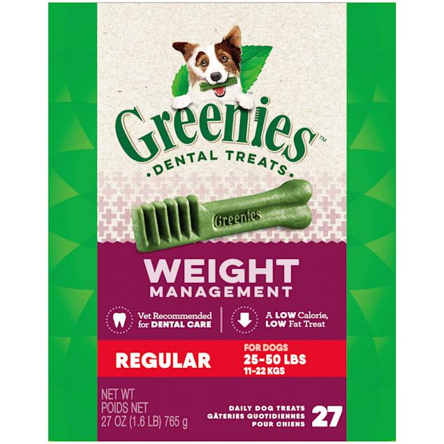 Greenies Weight Management Regular Natural Dog Dental Care Chews Dog Treats, 27 oz., Count of 27 - Carousel image #1