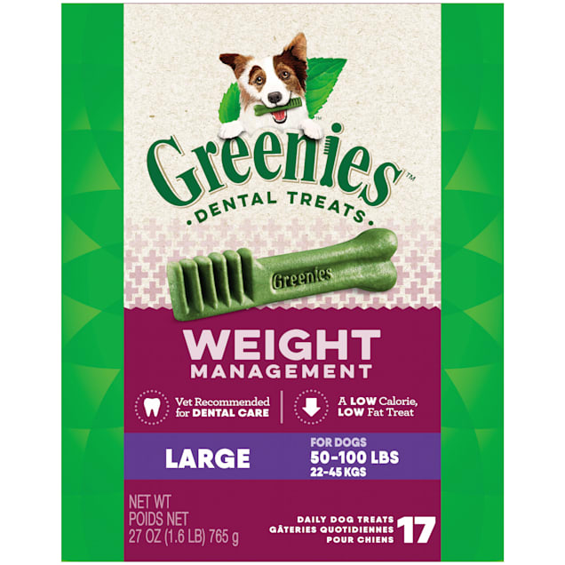 Greenies Weight Management Large Natural Dog Dental Care Chews Dog Treats, 27 oz., Count of 17 - Carousel image #1