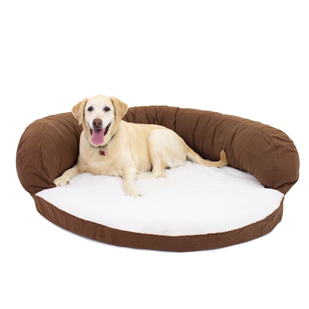 "Carolina Pet Company Chocolate Brown Orthopedic Bolster Dog Bed, 50"" L x 15"" W - Carousel image #1"