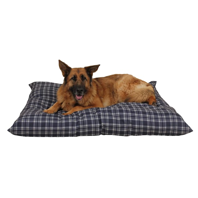 "Carolina Pet Company Blue Plaid Indoor Outdoor Shebang Dog Bed, 54"" L x 44"" W - Carousel image #1"