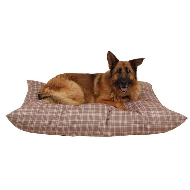 "Carolina Pet Company Tan Plaid Indoor Outdoor Shebang Dog Bed, 54"" L x 44"" W - Carousel image #1"