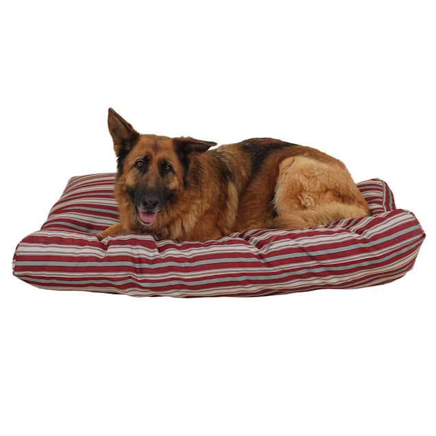 """Carolina Pet Company Indoor Outdoor Jamison Red Striped Dog Bed, 48"""" L x 36"""" W - Carousel image #1"""