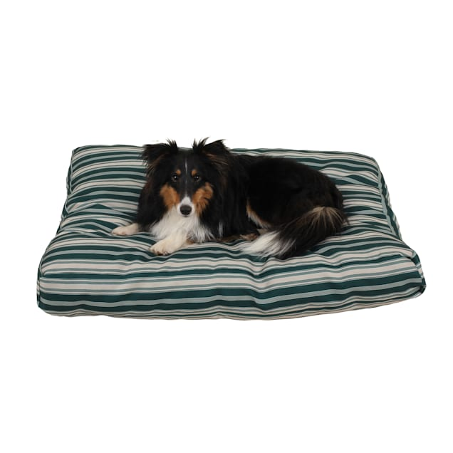 "Carolina Pet Company Indoor Outdoor Jamison Green Striped Dog Bed, 36"" L X 27"" W X 4"" H - Carousel image #1"