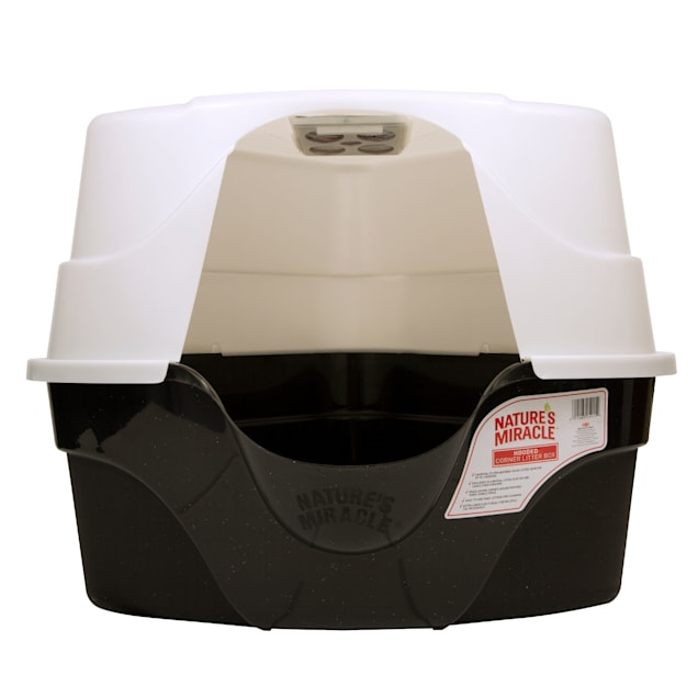 Nature's Miracle Hooded Corner Litter Box With Odor Control Charcoal Filter - Carousel image #1