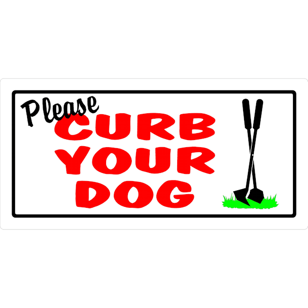 "Hillman Sign Center-- Please Curb Your Dog, 10"" L X 5"" H - Carousel image #1"