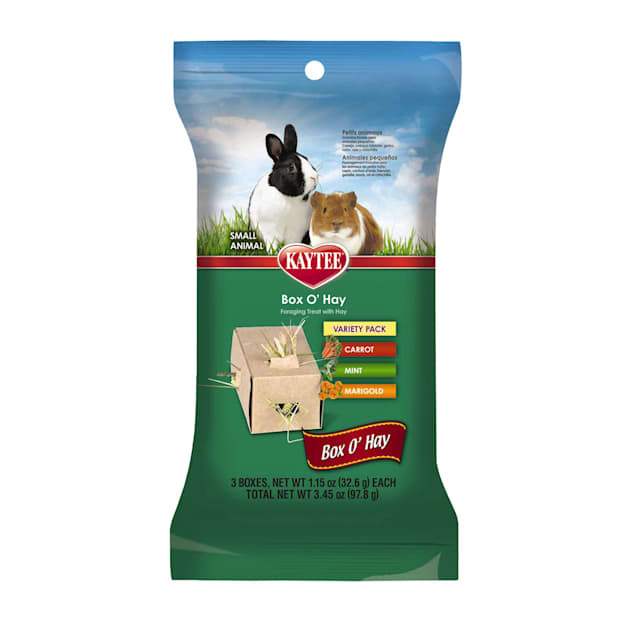 Kaytee Timothy Hay Plus Treat Boxes For Small Animals, Carrot, Mint and Marigold, Pack of 3 treat boxes - Carousel image #1