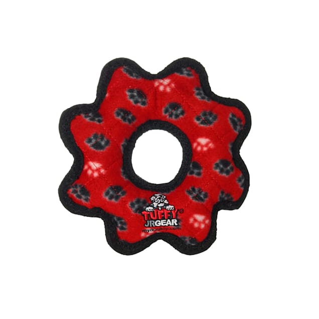 Tuffy's Red Paw Print Jr Gear Ring Tug Dog Toy, Small - Carousel image #1