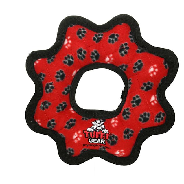 Tuffy's Red Paw Print Ultimate Gear Ring Tug Dog Toy, Medium - Carousel image #1