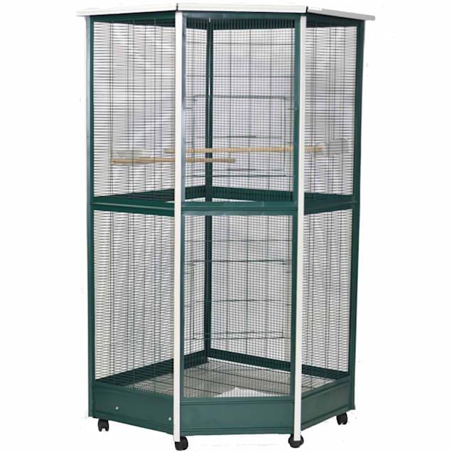 "A&E Cage Company Green & White Corner Aviary Bird Cage, 52"" X 42"" X 74"" - Carousel image #1"