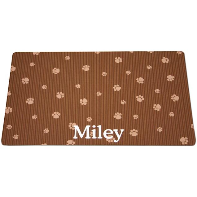 Drymate Brown & Tan Paw Print Personalized Cat Litter Box Mat - Carousel image #1