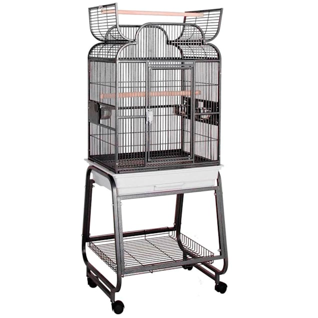 """HQ Platinum Opening Scroll Top with Cart Stand Bird Cage, 22"""" L X 17"""" W X 55"""" H - Carousel image #1"""