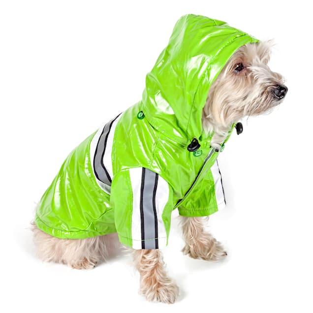 Pet Life Green Reflecta-Glow Reflective Waterproof Adjustable Pvc Pet Raincoat, X-Small - Carousel image #1