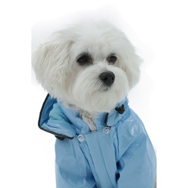 Pet Life Baby Blue Pvc Waterproof Adjustable Pet Raincoat, X-Small - Carousel image #1