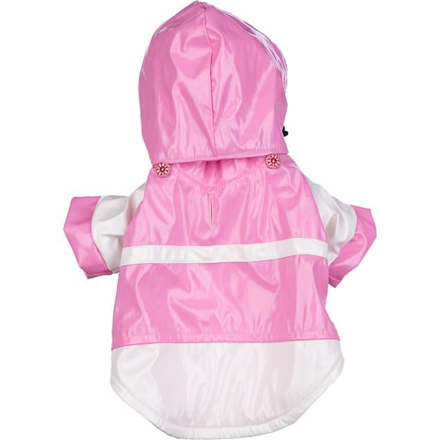 Pet Life Pink & White Two-Tone Pvc Waterproof Adjustable Pet Raincoat, Small - Carousel image #1