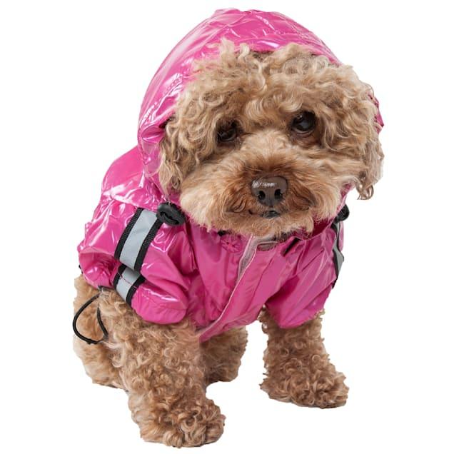 Pet Life Hot Pink Reflecta-Sport Adjustable Reflective Weather-Proof Pet Rainbreaker Jacket, X-Small - Carousel image #1