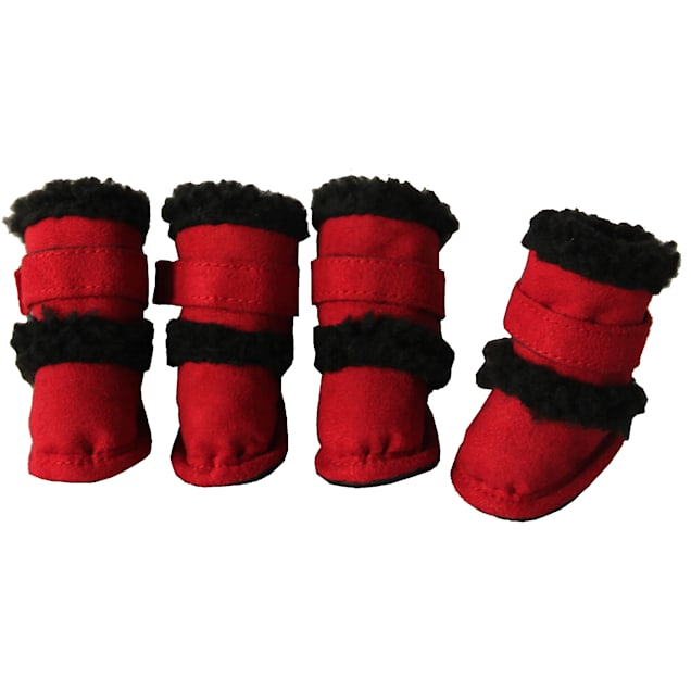 Pet Life Red Shearling Paw Wear for Dogs, Small - Carousel image #1