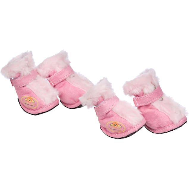 Pet Life Pink Ultra Fur Boots for Dogs, Medium - Carousel image #1