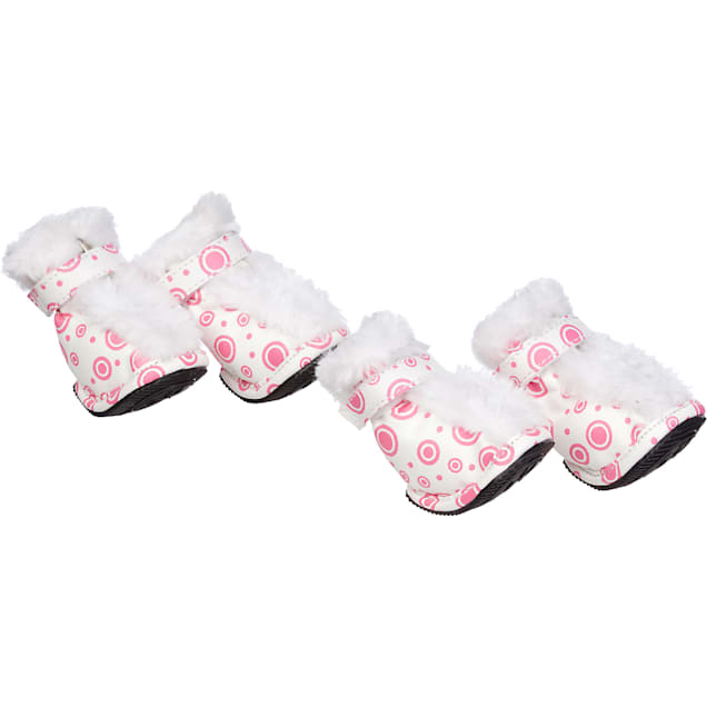Pet Life Pink & White Ultra Fur Boots for Dogs, Small - Carousel image #1