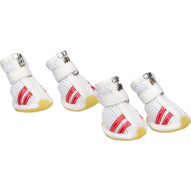 Pet Life White & Red Mesh Shoes for Dogs, Small - Carousel image #1