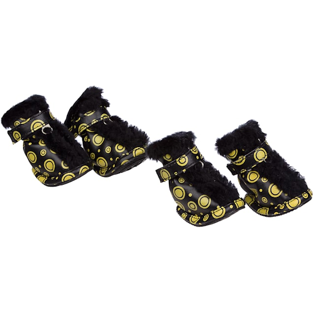 Pet Life Yellow & Black Ultra Fur Boots for Dogs, X-Small - Carousel image #1