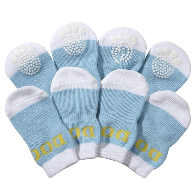 Pet Life White & Blue Socks with Rubberized Soles for Dogs, Small - Carousel image #1