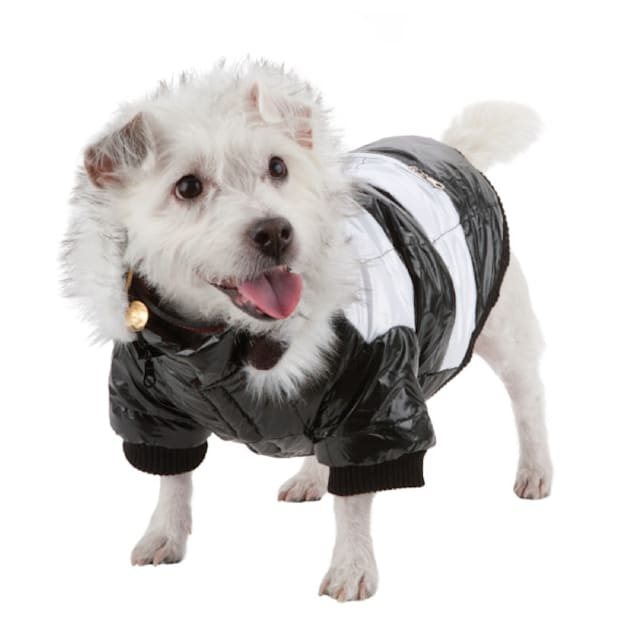 Pet Life White & Black Fashion Striped Ultra-Plush Pet Parka Coat, X-Small - Carousel image #1