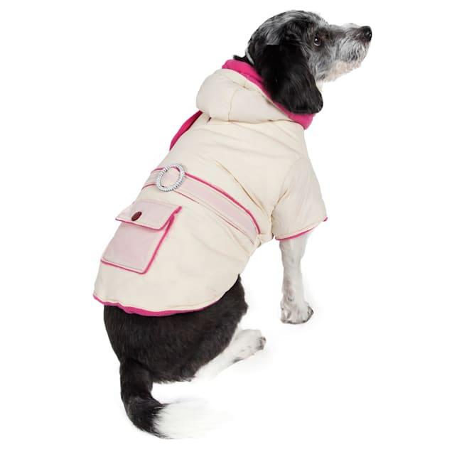 Pet Life Tan & Pink Jewel Dog Jacket, X-Small - Carousel image #1