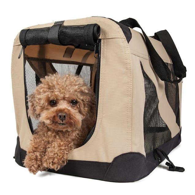 "Pet Life Folding Zippered 360 Degree Vista View House Pet Crate in Khaki, 32"" L x 23"" W x 23"" H - Carousel image #1"