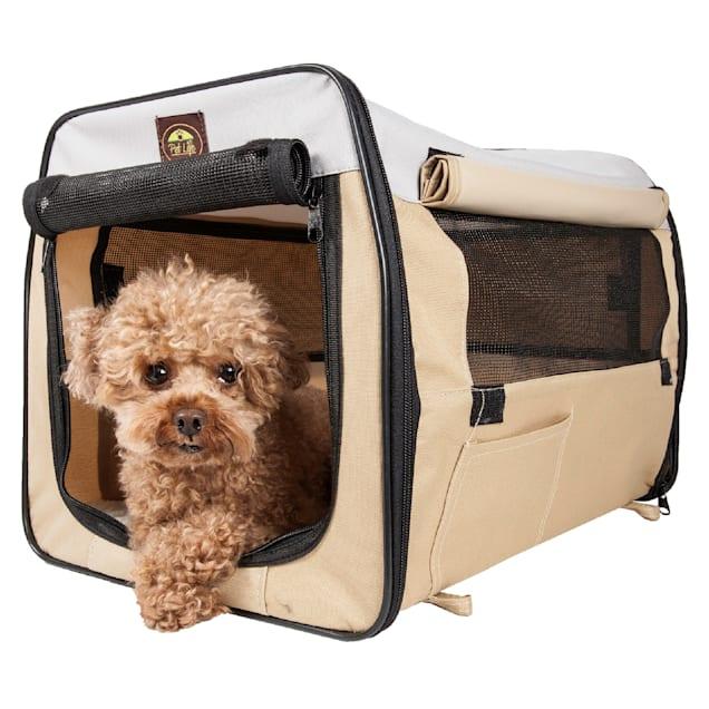 "Pet Life Folding Zippered Lightweight Easy Folding Pet Crate in Khaki, 36"" L x 25"" W x 25"" H - Carousel image #1"