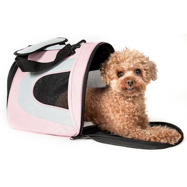 Pet Life Airline Approved Folding Zippered Sporty Mesh Pet Carrier in Pink & Cream, Medium - Carousel image #1